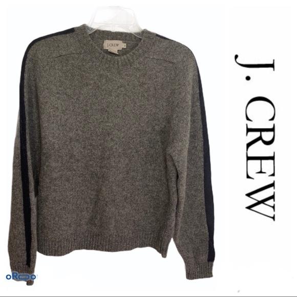 J. Crew Men's 100% wool sweater grey with blue XL